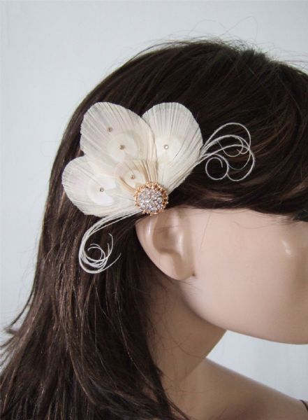"Cream Gold Crystals Peacock Feathers Fascinator Bridal Hair Clip Hairpiece ""Nina"""